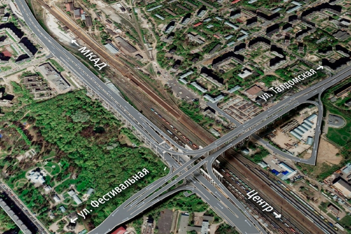 Section of Moscow – St. Petersburg Highway running from Businovskaya Interchange to Festivalnaya Street, including an interchange at the intersection with Festivalnaya Street (2013-2015)